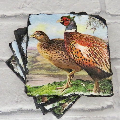 SET OF 4 PHEASANT SLATE COASTERS