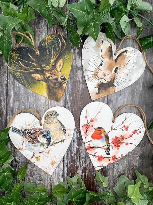 Nature Wooden Heart Plaques