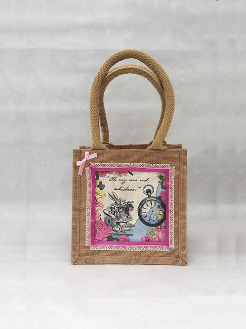 CuteWhite Rabbit Alice In Wonderland Jute Bag
