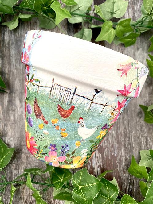Bright Chicken Plant Pot