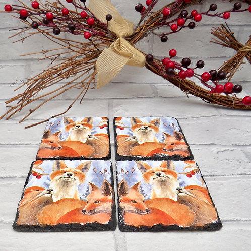 Set of Four Fox Slate Coasters