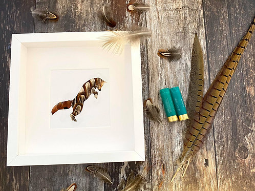 Leaping Fox Pheasant Feather Framed Art