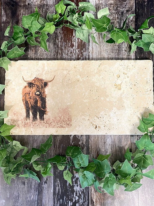 Long Highland Cow Stone Trivet