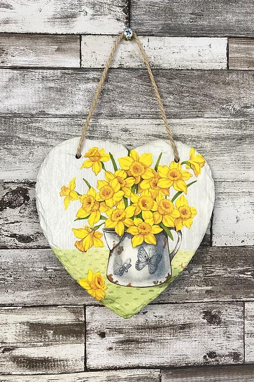 Daffodil Slate Heart Plaque