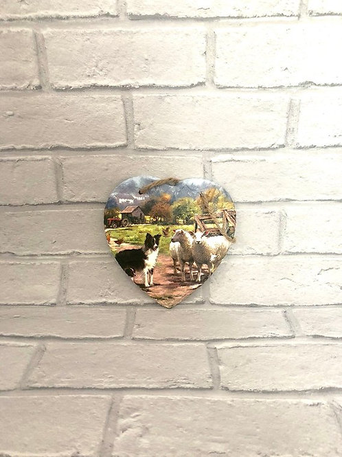 FARM SLATE HEART PLAQUE