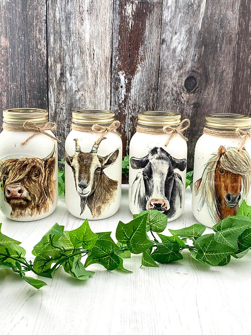 Set of 4 Farmyard Friends Large Glass Mason Jars