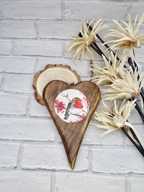 Large Dark Wooden Robin Heart Plaque
