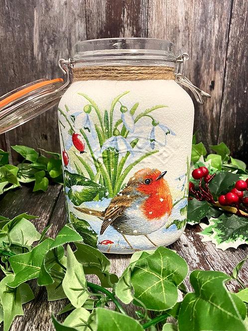 Large Cheeky Robin Kilner Jar
