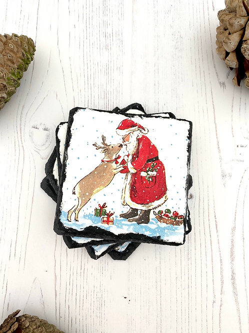 FATHER CHRISTMAS SLATE COASTERS