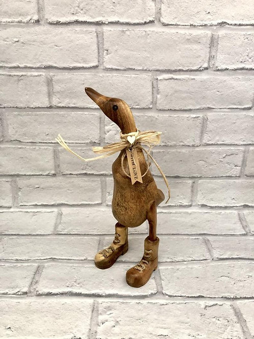 SMALL PLAIN WOODEN BOOTED DUCK