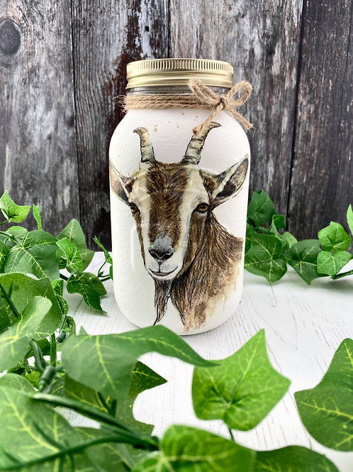 Large Glass Goat Mason Jar