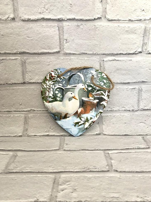 WINTER DUCK SLATE HEART PLAQUE