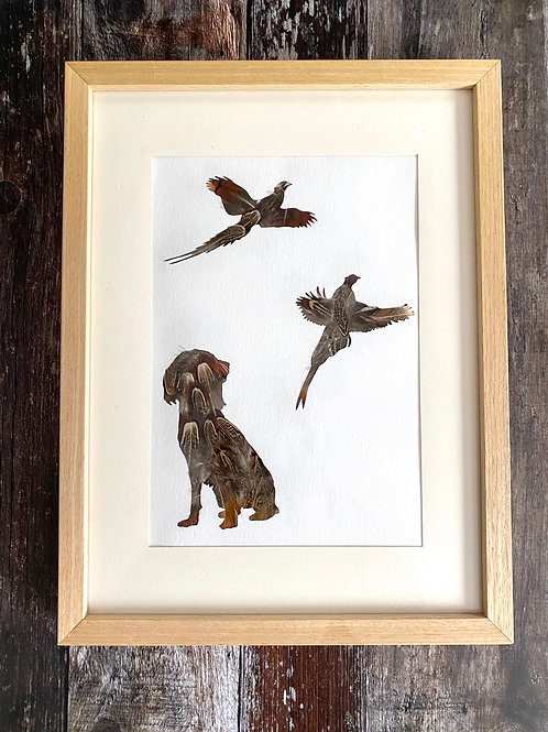 Framed Game Scene Pheasant Feather Art
