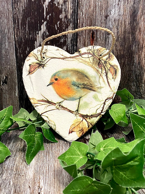 Autumn Robin Slate Heart Plaque