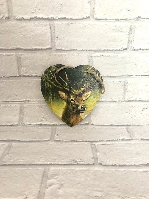 STAG SLATE HEART PLAQUE