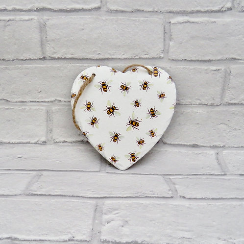 BEE PATTERN SLATE HEART PLAQUE