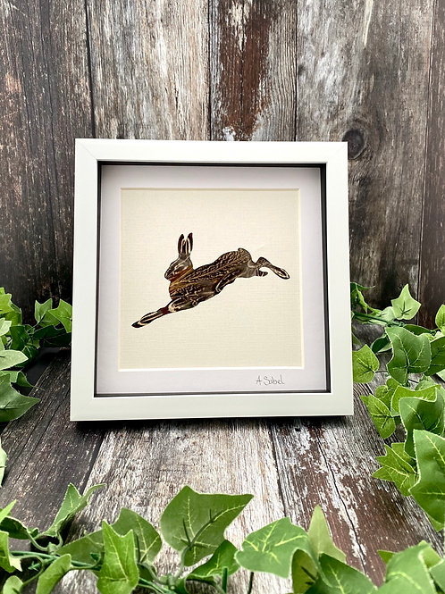 Leaping Hare Pheasant Feather Framed Art