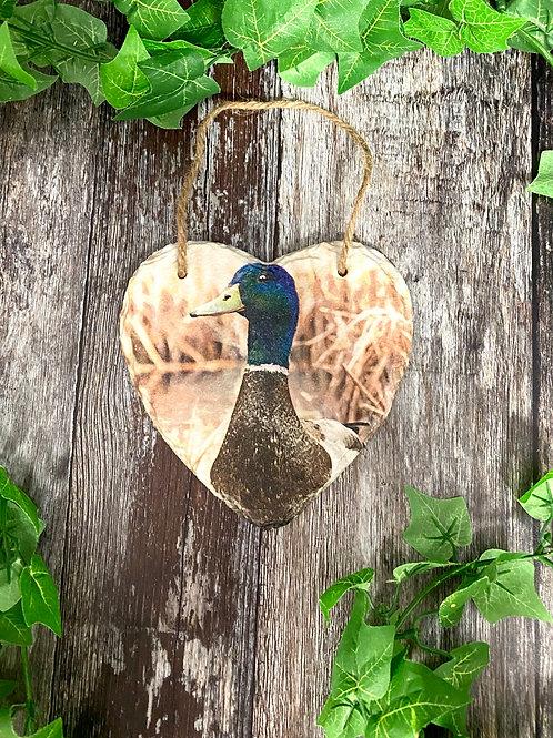 Mallard Duck Hanging Slate Heart Plaque