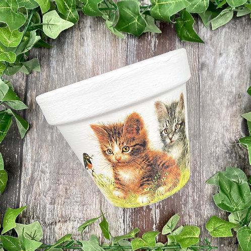 VINTAGE CAT PLANT POT