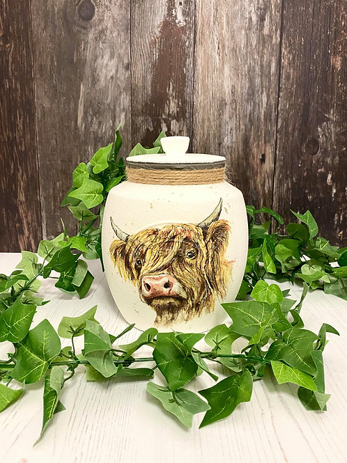 2Litre Rounded Highland Cow Jar