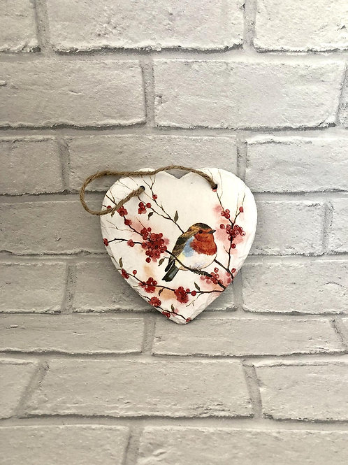 All Year Robin Heart Plaque