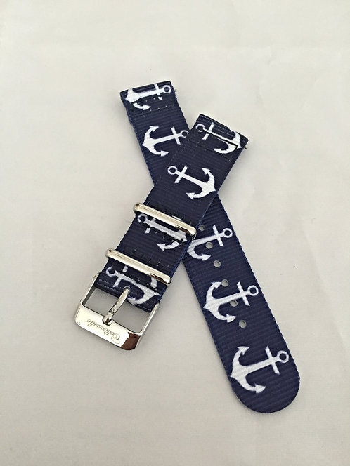 Navy/White Anchor 20mm Quick Release Nylon Band