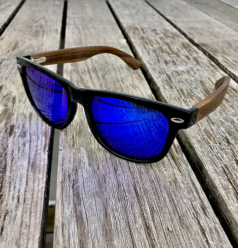 Bamboo - Black Frames with Blue Mirror Polarized Lenses