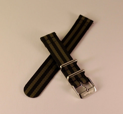 Olive and Black 18mm Quick Release Nylon Strap