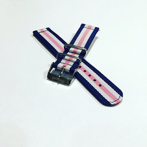 Pink/White/Navy 20mm Quick Release Nylon Band