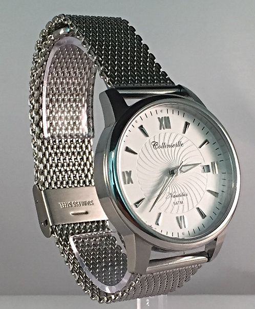 Classic 36mm White Nautilus - Quick Release Stainless Steel Mesh