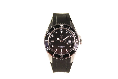 Black Marina Watch with Silicone Strap #5190