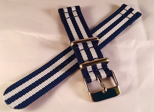 Navy and White 18mm Quick Release Nylon Band