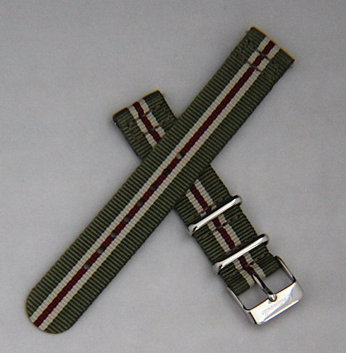 Olive/Cream/Red 18mm Quick Release Nylon Strap