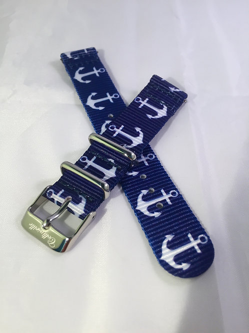 Navy with Anchors 18mm Quick Release Nylon Band