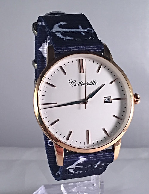 40mm Main St. Rose Gold Navy with Anchor