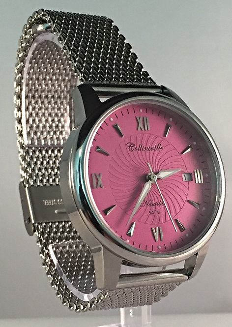 Classic 36mm Raspberry Nautilus - Quick Release Stainless Steel Mesh