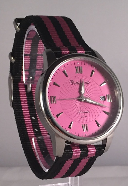 Classic 36mm Raspberry Nautilus - Raspberry and Black