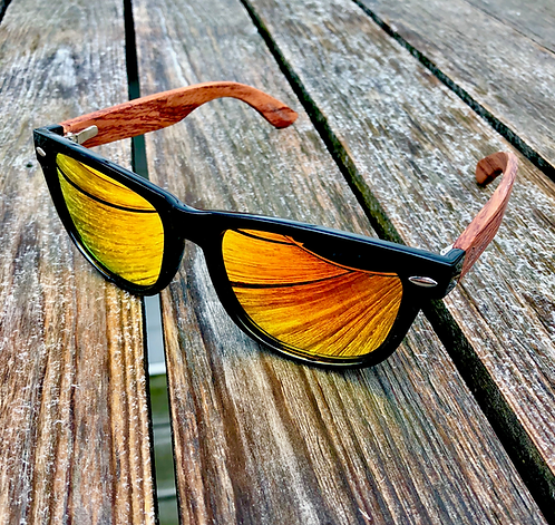 Bamboo - Black Frames with Red Mirror Polarized Lenses