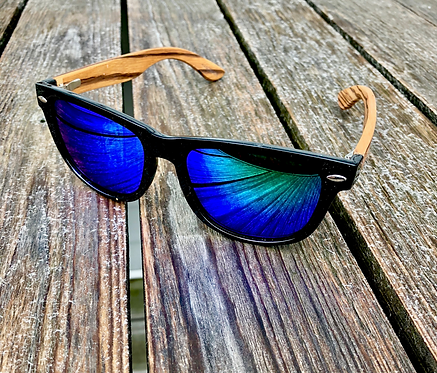 Bamboo - Black Frames with Green Mirror Polarized Lenses
