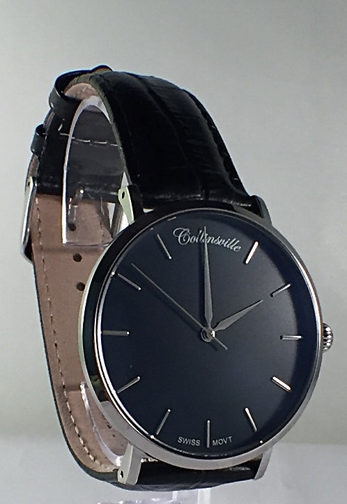 40mm Stainless Main Street Black Dial - Black Leather Strap