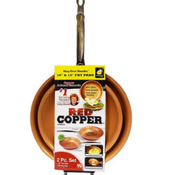RED COPPER COOKWARE 10- AND 12-INCH FRYING PAN SET OF 2