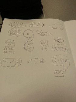 Sketches of Cloud 9 logo ideas