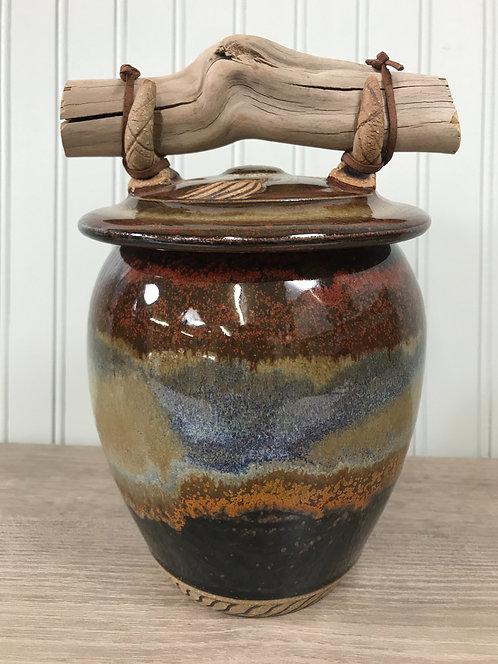 Lidded Pottery Jar w/Browns & Grey, Handmade Jar, Storage Jar, Decorative Jar