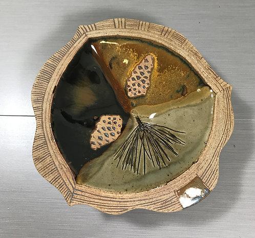 Potpourri Bowl, Serving Bowl, Bowl with Leaves, Earth Tone Bowl