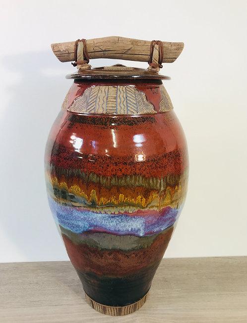 Pottery Jar, Decorative Jar, Urn for Remains, Storage Jar, Nature Inspir