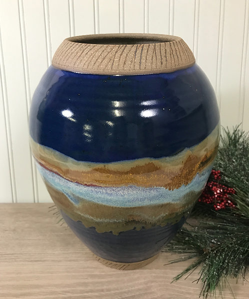 Decorative Pottery Vase, Cobalt Blue Vase,