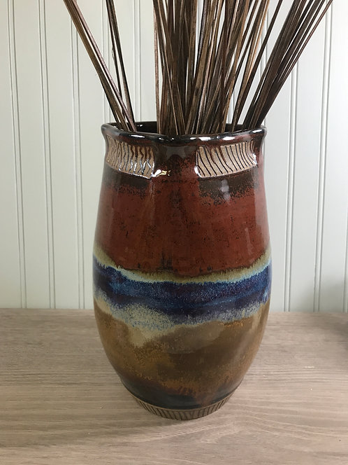 Decorative Pottery Vase with Rust Glazes & Carving