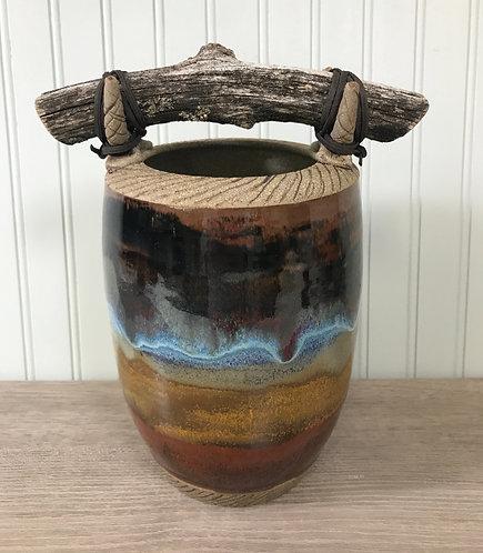 Decorative Pottery Vase , Nature Inspired Vase, Black with Blue Vase