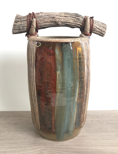 Decorative Vase with Carving, Attached Wood for Handle