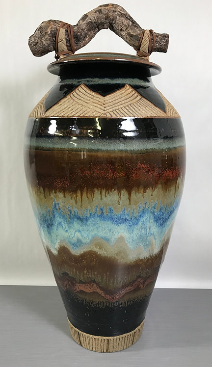 Pottery Jar, Decorative Jar, Urn for Remains, Storage Jar, Nature Inspired